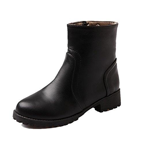 Botas Negras Con Cremallera Pura Y Tacón Bajo Voguezone009 Para Mujer