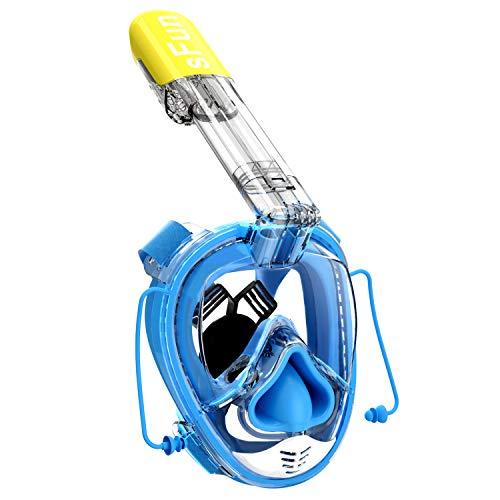 Masque de Plongée Schnorkel Plein Visage 180°avec Support GoPro Détachable, Kit de Plongée avec Tube Respiratoire Pliable Amélioré Technologie Anti-Brouillard et Anti-Fuite - Grande Taille (Bleu)