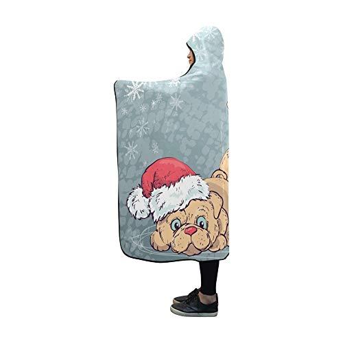 JOCHUAN Mit Kapuze Decke Weihnachten Poster Hund Porträt rot Santa Decke 60 x 50 Zoll Comfotable mit Kapuze werfen Wrap