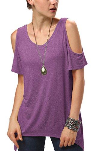 Urban GoCo Mujeres Casual Tallas Grandes Camiseta Slim Fit V Cuello Off Shoulder Túnica Tops Heather púrpura X-Large