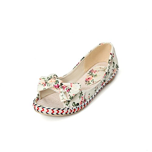 VogueZone009 Donna Colore Assortito Senza Tacco Punta Aperta Tessuto Tirare Heeled-Sandals Beige