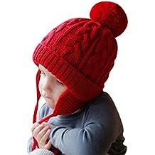 Bonnet Chapeau Enfant Bébé Hiver Bonnets Tricoté Fille Garçon Respirant  Doux Beanie Hats avec Torsades Tresse c5ad7b72098