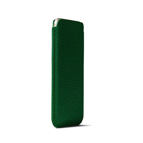 Lucrin - Etui mit Zunge für iPhone 6 Plus/6s Plus/7 Plus - Schwarz - Ziegenleder Hellgrün
