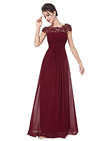 Ever Pretty Womens Cap Sleeve Lace Neckline Ruched Bust Prom Dress 10 UK Burgundy EP09993BD06