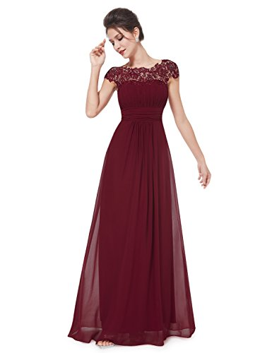 Ever Pretty Damen Lace Rueckseite Offen Kurzarme Chiffon Lange Abendkleider 6UK Burgundy