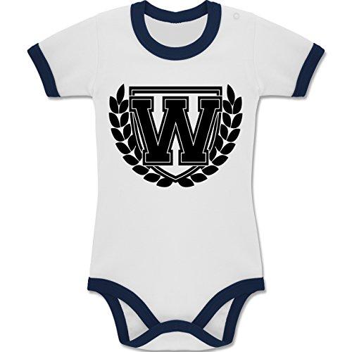 Shirtracer Anfangsbuchstaben Baby - W Collegestyle - 12-18 Monate - Weiß/Navy Blau - BZ19 - Zweifarbiger Baby Strampler für Jungen und Mädchen