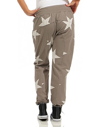 ZARMEXX trendy Damen Sweatpants Baggy Boyfriend Freizeithose Jogginghose Baumwolle Sporthose Loose fit Big Star Cappuccino