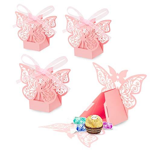 rling Süßigkeiten Schachtel für Hochzeit Taufe Gastgeschenk Geschenkbox Kartonage Schachtel Tischdeko Bonboniere Box,Kinder Party süße Boxen,Hochzeit Dekoration ()