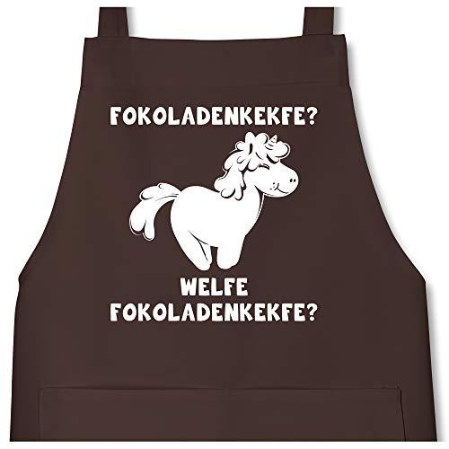 Shirtracer Küche - Fokoladenkekfe Einhorn - 80 cm x 73 cm (H x B) - Braun - X967 - Kochschürze mit Tasche