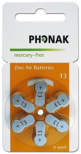 60 x Hörgerätebatterien Phonak Powerone mercury-free Typ 13 orange