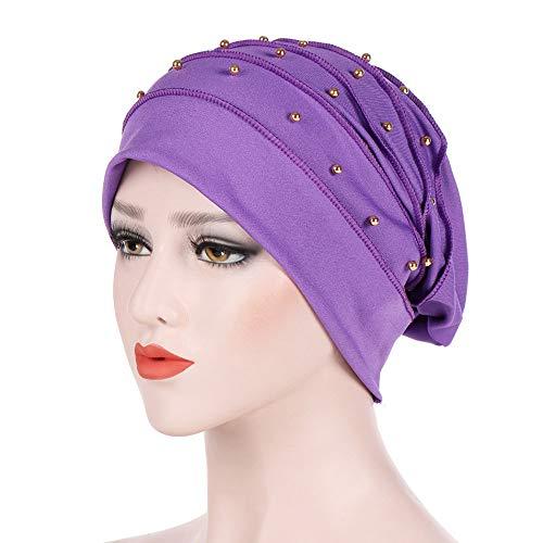 Ears Damen Mütze Indien Mütze Damen Mütze Muslim mit Krebs-Schal Chemo Hut Mütze Turban-Kopf mit Kappe Muslim Ruffle Cancer Chemo Mütze Schal Turban Wrap Cap
