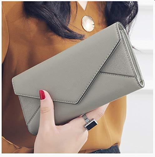 Umschlag Design Clutch Bag Wallet Damen Schnalle Tasche Münze Karte Tasche weibliche Brieftasche Lange Brieftasche Damen 9x19cm grau -