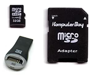 Komputerbay 32GB microSDHC High Speed Class Klasse 6 mit Micro SD Adapter und Sandisk Mobilemate USB Leser - lebenslange Garantie
