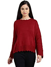 e93978ece Zink London Red Polyester Self Design Drop Shoulder Sweater Top for Women