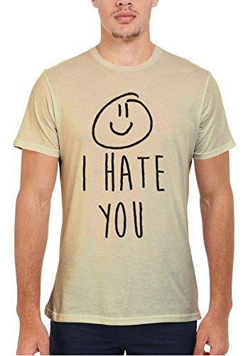 I Hate You X Smiley Cool Dope Funny Men Women Damen Herren Unisex Top T  Shirt SandCream