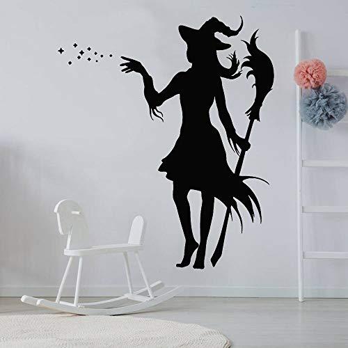 Tianpengyuanshuai Kinderzimmer Kind magische Hexe mit märchenhaften Wandaufklebern schmücken Schlafzimmer Wohnzimmer Dekoration mit Besen Vinyl Wandtattoo 35x42cm