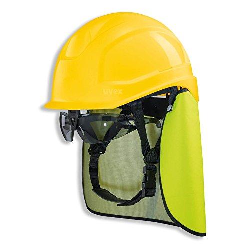 UVEX Schutzhelm pheos S-KR IES - Arbeitsschutz-Helm mit Schutzbrille und Nackenschutz - Set mit BG Bau Förderung - EN 397, Farbe:gelb