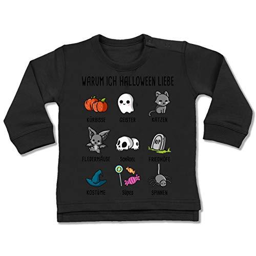 Shirtracer Anlässe Baby - Warum ich Halloween Liebe - 18-24 Monate - Schwarz - BZ31 - Baby Pullover