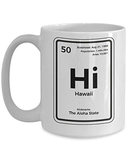 LINGJIE Strong Stability, Anti-Breaking, Hawaii Coffee Kaffeebecher Periodic Table Aloha State