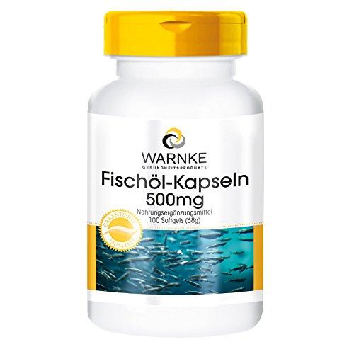 Aceite de pescado – rico en omega-3 – 500mg – Warnke - 100 cápsulas