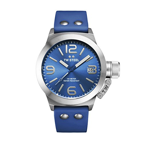 TW Steel Canteen Fashion Unisex Quartz Watch with Blue Dial Analogue Display and Blue Silicone Strap TW500