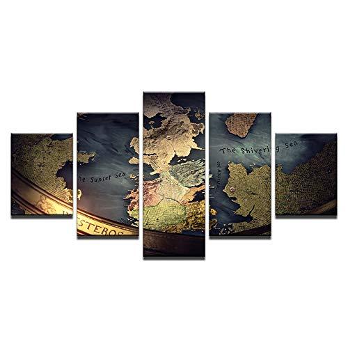 Modular HD Pintura De La Lona Marco De La Pintura Decoración del Hogar para La Sala 5 Unidades Juego De Tronos Cuadro Arte De La Pared Mapa Carteles