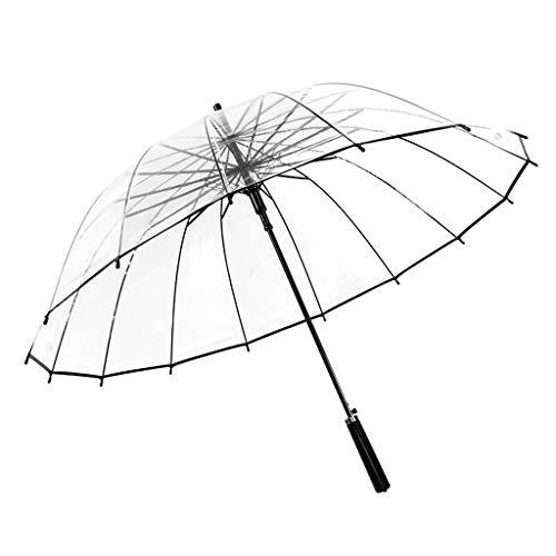 16 Knochen transparenter Regenschirm Kleiner frischer gerader Langer Griff Regenschirm kreativer automatikschirm (Color : B)