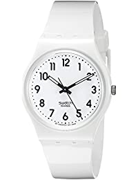 Swatch Unisex-Armbanduhr Just White Analog Quarz Plastik GW151
