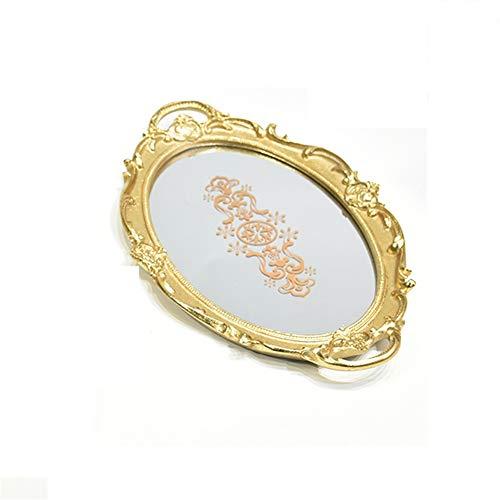 NOLLY Servier Tablett Organizer Tablett Goldene Oval Dessert Tablett Spiegel Tablett Butter Dish Galvanik Gold Tablett for Schmuck Aufbewahrung Dekoration für Dresser, Badezimmer, Schlafzimmer