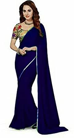 Sarees (Women's Clothing Saree For Women Latest Design Wear Sarees New Collection in Gold Coloured Georgette Material Latest Saree With Blouse Free Size Beautiful Saree For Women Party Wear Offer Sarees With Blouse Piece)