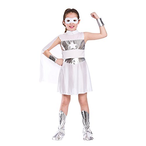 Girls White Super Hero Fancy Dress Party Costume Halloween Child (Hero Kostüme Halloween Super)
