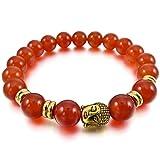 MunkiMix 10mm Aleación Pulsera Energía Eslabones Link Enlace Muñeca Energía Piedras Ágata Rojo Oro Dorado Tono Budismo Budista Mala Bola Bead Elástico