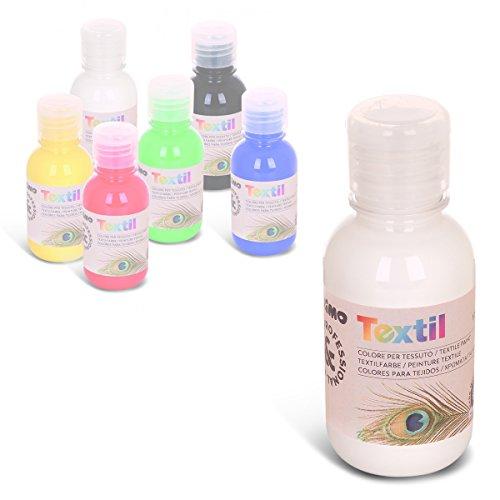 permanente Textilfarbe,125 ml, für Kinder geeignet, Flasche mit Dosierverschluss, Airbrush / Spray -fähig (weiß)