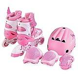 Inliner Kinder Ponny 2 in 1 rosa mit Schutzausrüstung, Größe M 34-37 verstellbar