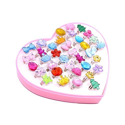 TOYANDONA 36 stücke Kinder Kinder Kleines Mädchen Jewel Kristall Ringe in Box Mädchen Pretend Play und Dress up Ringe kleine mädchen Geburtstagsgeschenk (zufällige Muster) (Ein Dress Mädchen Up Wie Kleines)