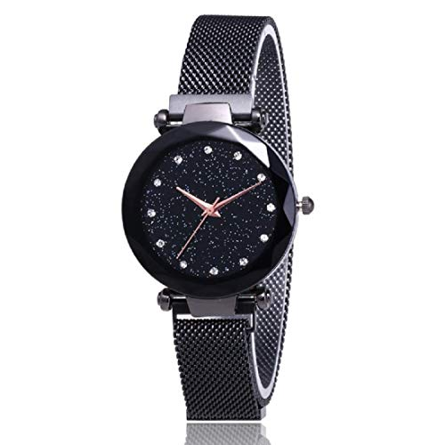 Mr. Brand MA-2 Luxury Mesh Magnet Buckle Starry Sky Quartz Watches for Girls Fashion Clock Mysterious Black Lady Analog Watch - for Girls