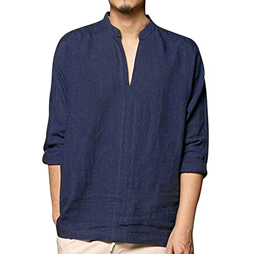 Men's Summer Blouse Piebo Loose Classic Chinese Style kung fu V Neck Shirt Linen Polo Tops Tang Long Sleeve Linen Blouse