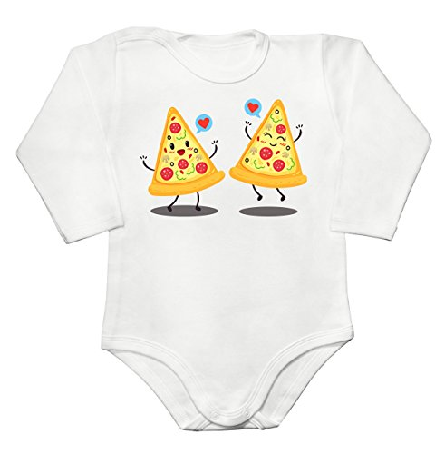 Two Pizza Slices Fell In Love Baby Long Sleeve Romper Bodysuit Babyspielanzug Extra Large (Champignons Weiße 15)
