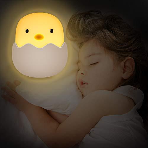 BICASLOVE Luz Nocturna Bebé, LED Silicona Lámpara de Polluelo con Brillo Ajustable/Control Tátil/USB Regargable,Regalo para Niños y Bebés[Clase de eficiencia energética A]