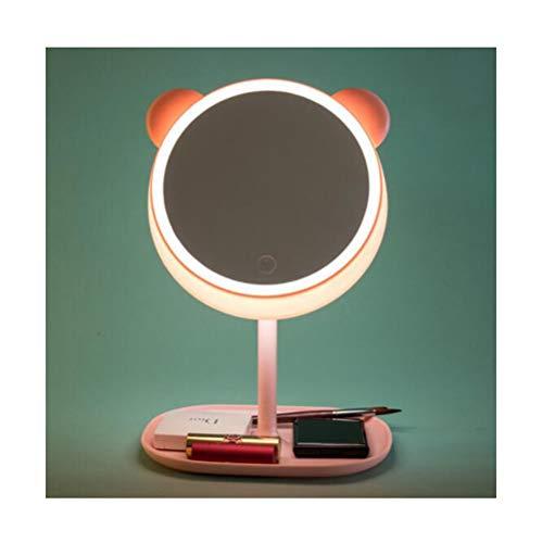 Miroir de maquillage XIAHE Créatif Dessin Animé pour Animaux De Compagnie Lampe De Table LED Lampe Miroir De Bureau Vinaigrette Rechargeable Pliant LED Miroir Pliant Multifonction