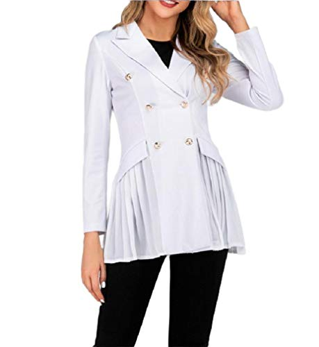 CuteRose Womens Slimming Double-Breasted Peplum Oversized Longline Outwear White L Double Breasted Coat Petite
