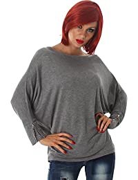 e516984baf862 Jela London Damen Feinstrick Pullover Pulli Sweater Sweatshirt Rundhals Langarm  Shirt Reißverschluss Fledermausärmel