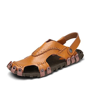 Herren Sandalen Frühling Sommer Herbst Comfort Light Sohle Leder Outdoor Casual Flachbild HeelWalking Schuhe Black