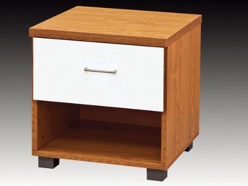 Bedside Cabinets Aston Weiß Hochglanz mit Buche 1Schublade Nachttisch Schrank -