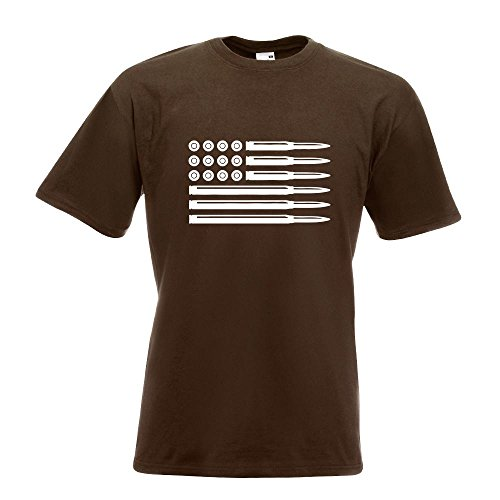 KIWISTAR - Munition Flagge USA T-Shirt in 15 verschiedenen Farben - Herren Funshirt bedruckt Design Sprüche Spruch Motive Oberteil Baumwolle Print Größe S M L XL XXL Chocolate