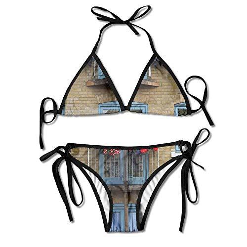 Wood Street House Window Town Building Home Women's Sexy Bikini Set Swimsuit Bathing Suit Triangle Swimwear