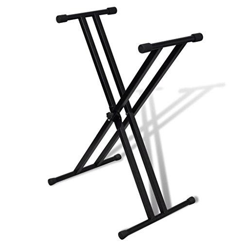 vidaXL Support Clavier Réglable Double Barre en X Support Piano Pied Clavier