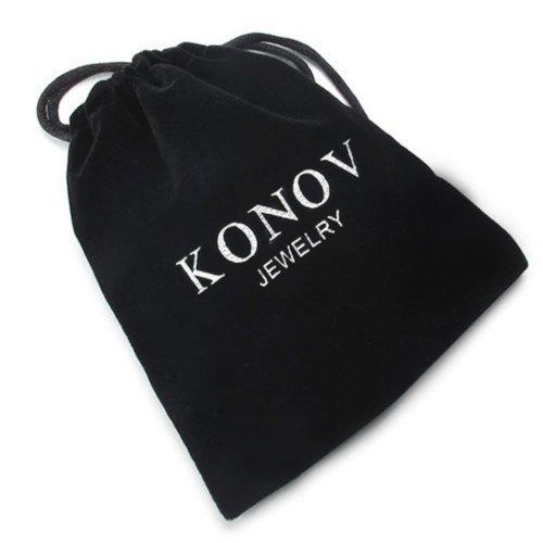 KONOV Schmuck 2 Freundschaftsketten Puzzle Edelstahl Partner-Anhänger mit Schwarz Seil Kette, Halskette für Damen & Herren, Blau