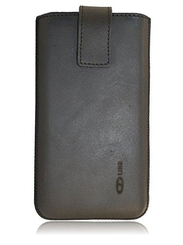 OrLine Handytasche passend für Nokia 230. Elegant Ledertasche Tasche Echtleder Leder-Hülle (Lasche mit Rückzugfunktion Ausziehhilfe Klettverschluss befestigt) Schutzhülle Case