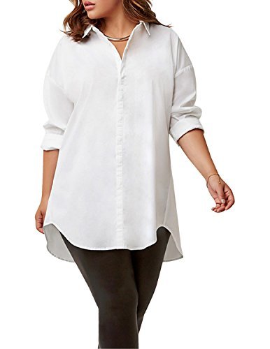 HAODUOYI Chemisier - Opaque - Femme Blanc